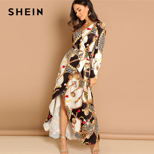 Shein Multicolor Mixed Print Surplice Wrap Satin Dress Deep V Neck Long Sleeve Women Autumn Maxi Fit And Flare Elegant Dresses White Dress Women Black
