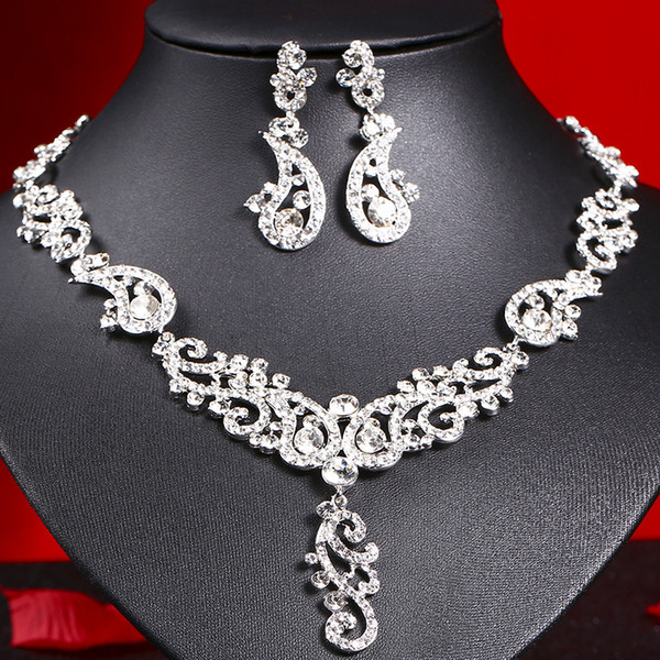 Gorgeous Blue Silver Champagne Bridal Jewelry 2 Pieces Sets Necklace Earrings Bridal Jewelry Bridal Accessories Wedding Jewelry T218102