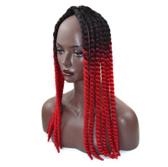 Mulheres negras peruca Havana Mambo Torção Tranças De Crochê Cabelo Peruca 22 polegadas 90 g / pacote Ombre Sintético Kanekalon Senegalês Trança Torção Do Cabelo FZP172