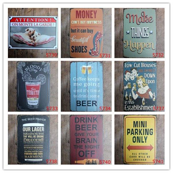 Attention Money Happen Juice Beer Barmen Mini Parking Only Vintage Home Decor Metal Tin Signs Hotel Music Bar Cafe Restaurant Wall Bathroom