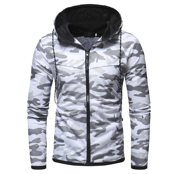 2018 winter new digital camouflage printed sweatshirt men's youth wild casual slim zipper cardigan hoodie coat thumbnail