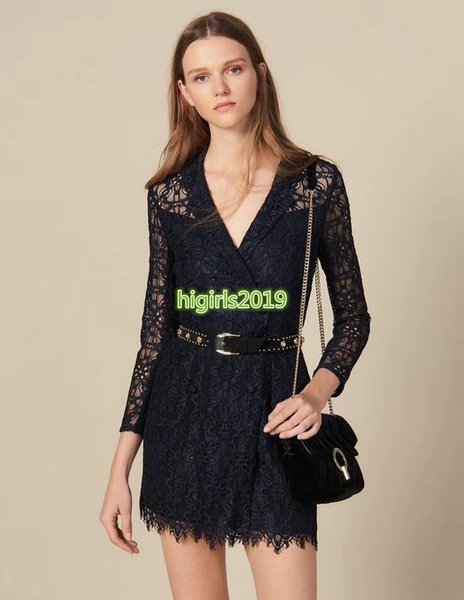 high end women girls shirt dress hollow out flowers lace shawl collar v-neck long sleeve sexy short skirt top quality fashion design dresses