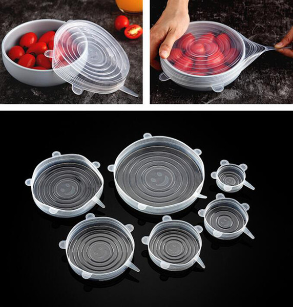 best selling Silicone Food Wraps 6pcs set Reusable Food Fresh Save Cover Stretched Durable Bowl Plate Storage Lids OOA7631-1