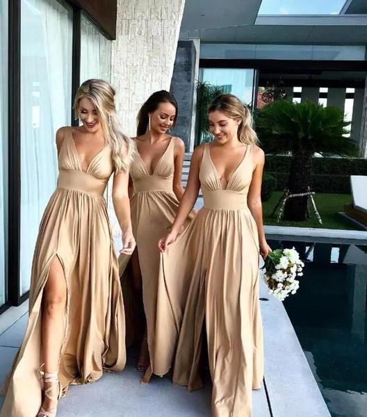 Barato oro satinado vestidos de dama de honor 2019 Sexy con cuello en V una línea de vestidos de dama de honor largos con Split Formal vestido de invitado de la boda personalizada BM0141