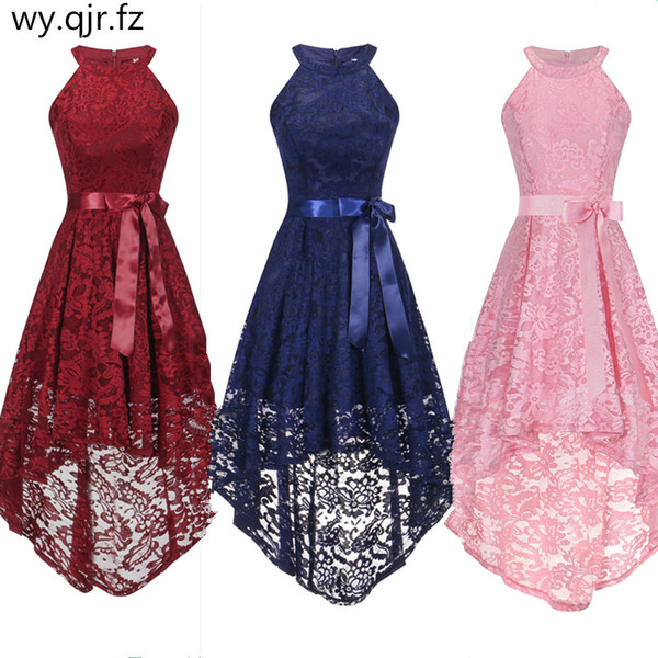 OML526F#Front short long back pink halter Bow Evening Dresses Classmate party dress prom gown wholesale fashion clothing China