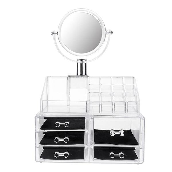Espejo grande claro organizador cosmético caja de almacenamiento de maquillaje cajón escritorio baño cepillo de maquillaje lápiz labial titular
