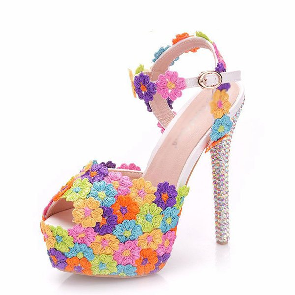 Multicolor Flower Shining Crystal Womens Wedding Shoes 14CM Crystal Thin High Heels Female Sandals Dress Shoes