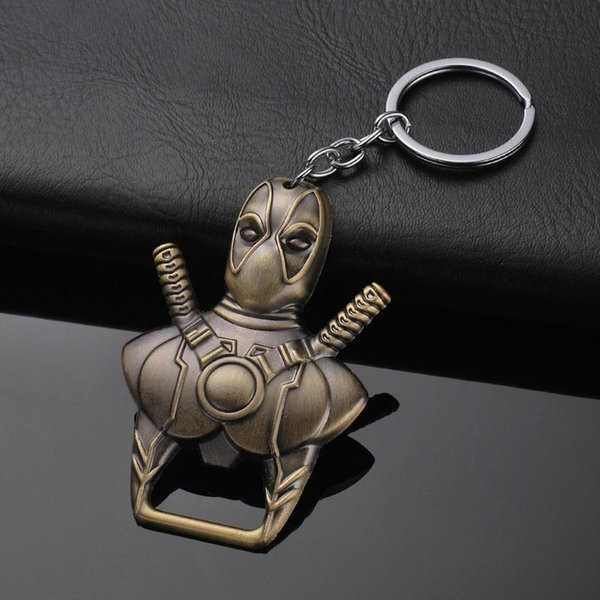 Avengers Marvel Deadpool Dead Waiter Opener Creative Keychain Pendant Movie Peripheral Accessories Key Ring Man Gift