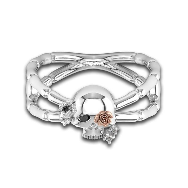Gothic Silver Skull Ring Punk Daisy Rose Gold Skeleton Black CZ Eye & Crystal Jewelry Engagement Wedding Band Rings for Women