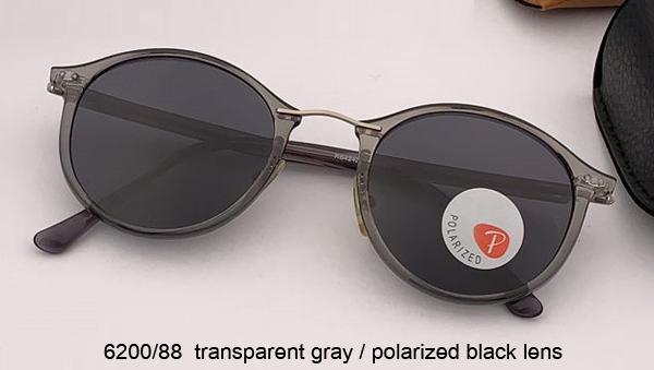 رمادي شفاف / أسود poalrized