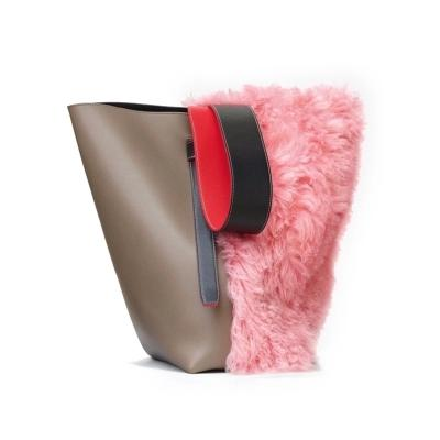 Fashion New Messenger Bucket Bag Handbag Single Shoulder Female Bags Leisure Fur Patchwork Capacity Elegant Stylish All-match