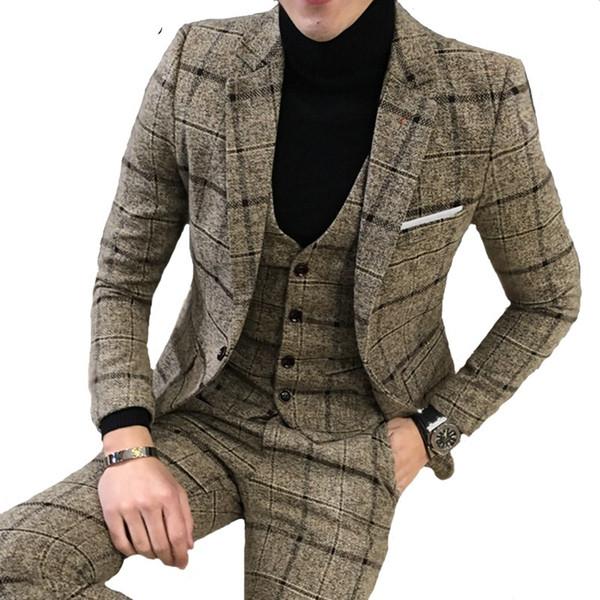 Luxo 3 peça terno terno dos homens mais recente jaqueta design blazer moda xadrez vestido de casamento smoking terno dos homens (blazer + colete + calças)
