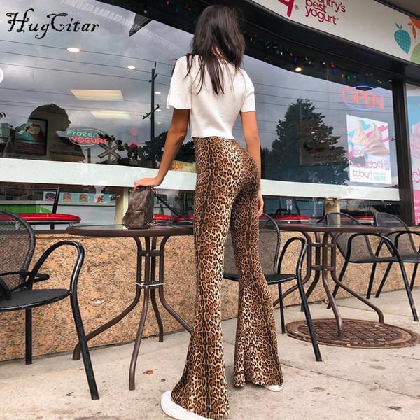Hugcitar High Waist Leopard Print Flare Leggings Autumn Winter Women Fashion Sexy Bodycon Trousers Club Pants Q190516