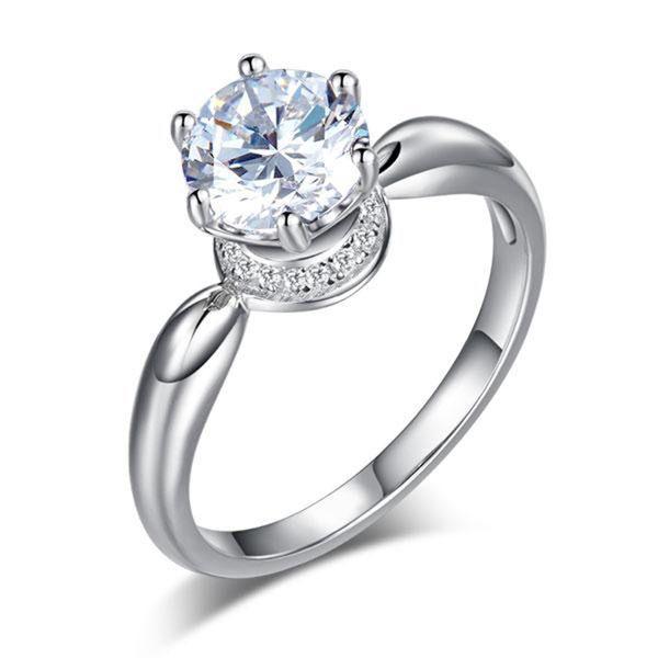 Fashion Brillant Strass Femmes Mariage Engagement Promesse Bague Bijoux Cadeau