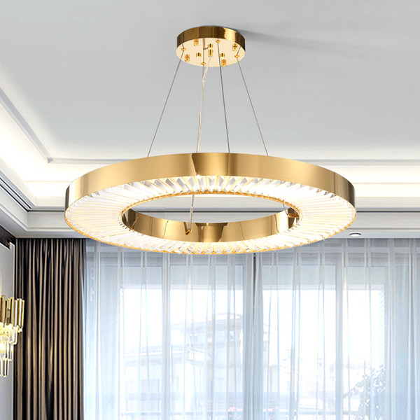 Acquista Cerchio LED Lampadario Illuminazione Soggiorno Oro Moderno  Cristallo Lampada Camera Da Letto In Acciaio Lucido Anello Lustres De  Cristal ...