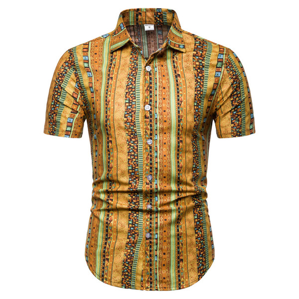 Plus Size 4xl Men Shirt Short Sleeve 2019 Red Streetwear Button Mens Clothing Striped Mens Shirts Turn-down Collar Man Fashion