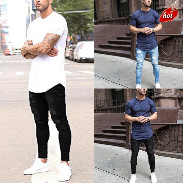 Casual Skinny Jeans Men Vintage Denim Pencil Pants Stretch Pantalones Summer Autumn Hole Ripped Male Zipper Jeans Plus Size O8R2