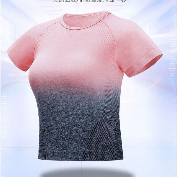 Degrade Renk Spor Formalar Kadınlar Yoga Üst Spor Tshirt Spor Gömlek Kırpma Üstleri Spor T-shirt Egzersiz Koşu forması mujer # 342291