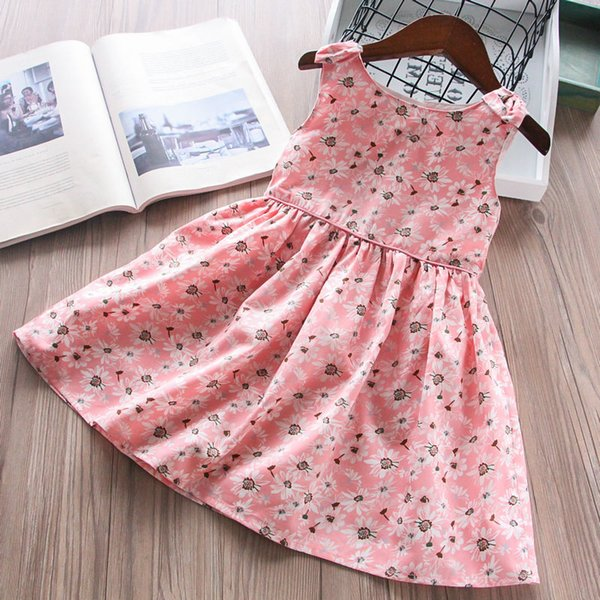 Girls Child Princess Pink Color Bow Sunflowers Print Vest Clothes Party Holiday Fashion Lovely Kids Baby Ruffles Dresses