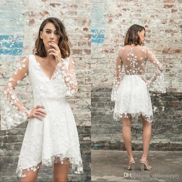 Vestido Noiva China Simples Novo A Linha De Renda Curto Na Altura Do Joelho Sheer Vestidos De Noiva Com Decote Em V Longo Sleeevs Praia Vestidos De