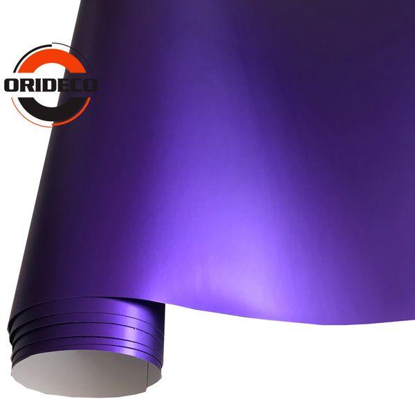 50cm Largeur Violet Métallique Mat Vinyle Wrap Enveloppe De Voiture Avec Air Bulle Libre Chrome Matt Film Véhicule Enveloppant Autocollant Feuille