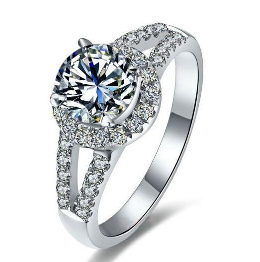 Hot Sell Real 925 Silver Rings For Lady 1.0Ct Sona Synthetic Diamond Wedding Ring With 18K White Gold Plated Bezel Setting Jewelry Female