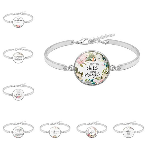 1pc Fashion Psalm Bracelet Art Picture Print Glass Dome Charms Bracelet Bible Verse Quote Jewelry Gift For Christian