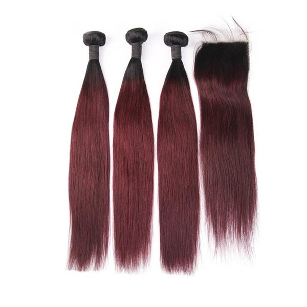 3 Human Hair Bundles With Closure Ombre Peruvian Straight Hair 1B Burgundy Red Color 99J Two Tone Bundle With Lace Closure