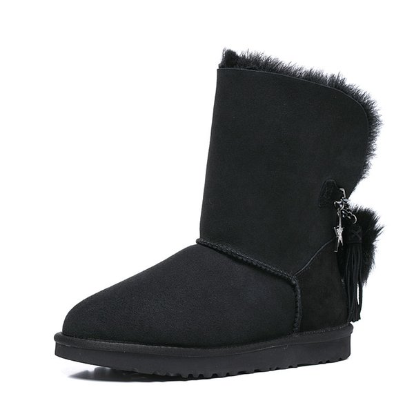 Free shipping Classic Genuine leather bailey bow snow boots 100% Wool Women Boots Warm winter shoes for woman Australia snow boots 04