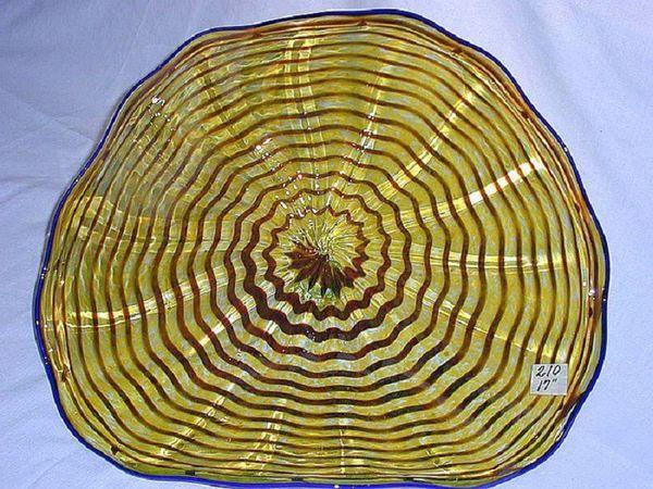 """GOLD 12/"""" Wall Platter Handmade Blown Glass Wall Flowers"""
