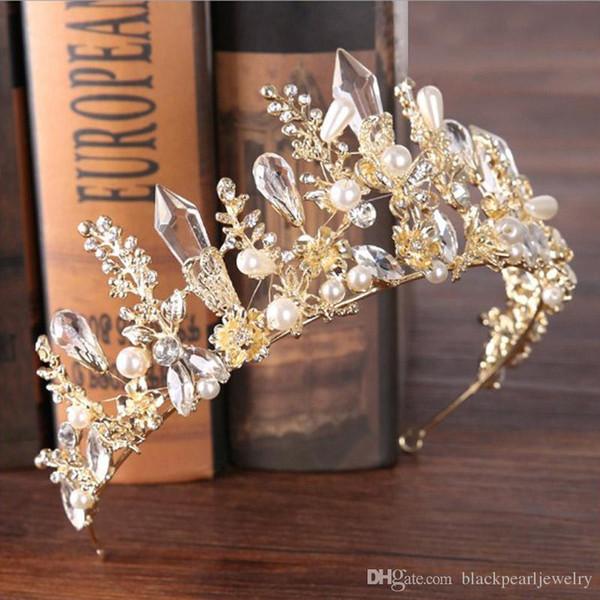 8 Colors Elegant Beautiful Silver Bridal Wedding Tiaras and Crowns women pearl Bride Tiaras Hair Headdress Ornaments free shipping