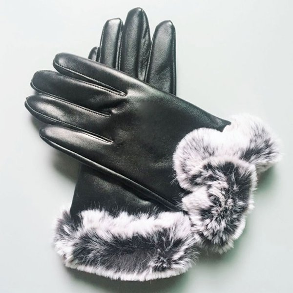 best selling Winter Finger Gloves Australia PU Leather Gloves Women Ski Gloves Solid Color Warm Soft For Lady DHL Shipping