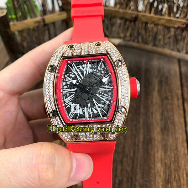 14 Color New Best version RM 010 Skeleton Dial Rose Gold Diamonds Case Miyota Automatic RM010 Mens Watch Red Rubber Strap Sport Watches