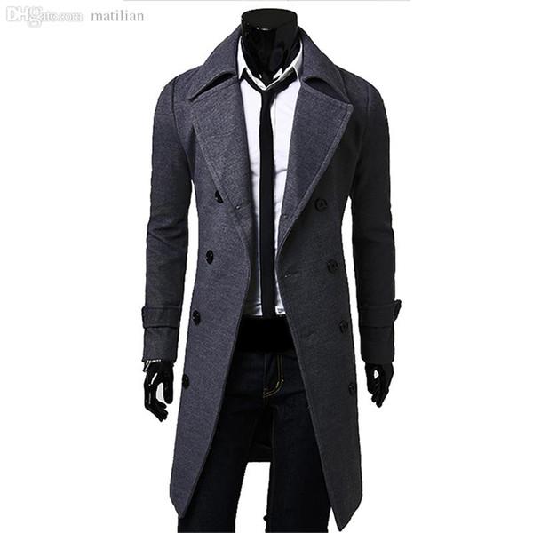 Queda-Homens Long Peacoat Inverno Down Jacket Brasão Mens Masculino Camel / preto / cinza de lã Overcoat Manteau MC056