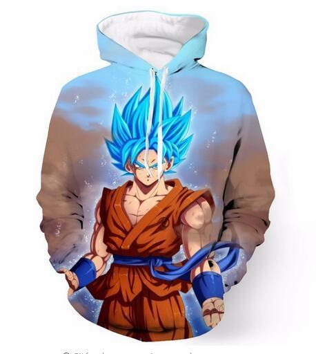 Lançamento de Moda de Nova Homem Das Mulheres Designer Perfeito Estilo Harajuku Dragon Ball Z Goku 3D Impressão de Manga Longa Hoodies Casual Sportswear RW0154