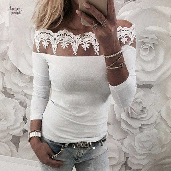Lace Blusa Sexy Shirt Floral manga comprida Mulheres White Tops Feminino Blusas Elegant Sólidos Moda Blusa Camisas Blusas Femme