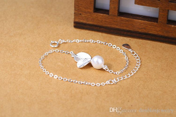 925 Sterling Silver New Pearl small leaf Ziyin Bracelet lady and silver jewelry manufacturers selling beads