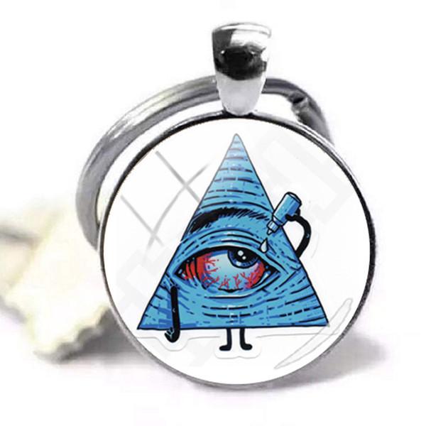 Новая пирамида мода женщин Серебряный вектор Иллюминаты глаз пирамида стекло кабошон стеклянный купол брелок цепи