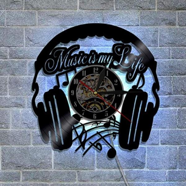 Decorative Colorful Led Music Note Music Instrument Vinyl Record Clock Regali per gli amici Bambini Studenti-g 12 pollici