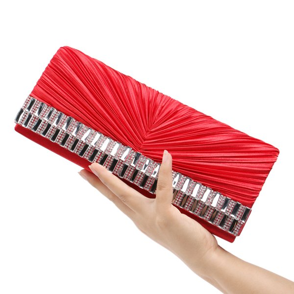 Dgrain Vintage Indian Hand Made Women Red Clutch Purse Crystal Ruched Evening Bag Wedding Bridal Party Handbag