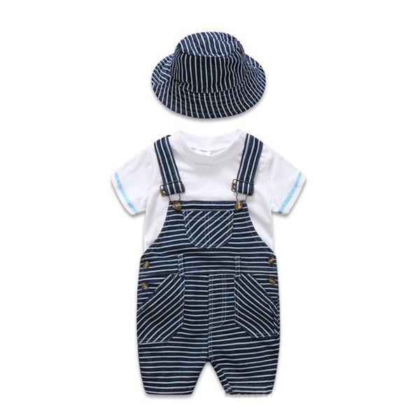 2019 neugeborenes Baby des Sommers kleidet Säuglingsausstattungskinderentwerfer-Kleidung 3pcs / set weißes T-Shirt + Hosenträgerhose + Hutjungen stellt A2617 ein