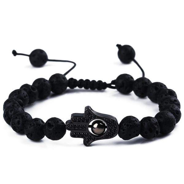 2018 H0T Fashion Classic Braccialetti di perline lava Zircone nero per uomo Donna Perline di pietra nera naturale Pulseras Hombre Gioielli regalo