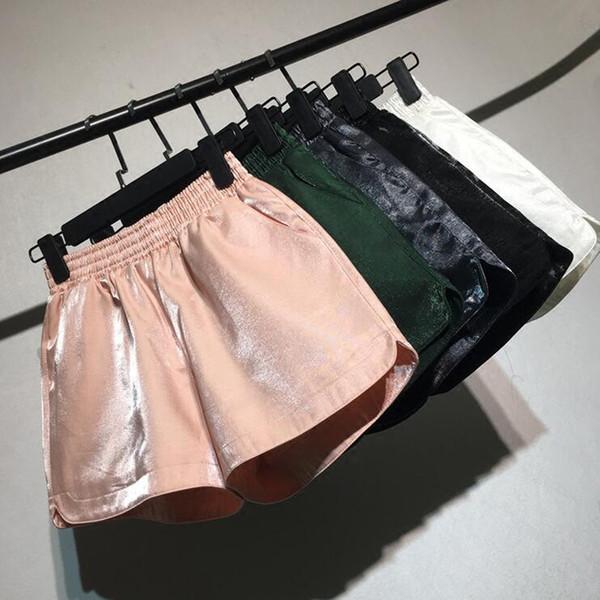 03f40440121 Punk Gold Sequin Shorts Women Summer 2018 New High Waist Short Feminino  Casual Vintage Plus Size Shorts Wide Leg Shorts J190507
