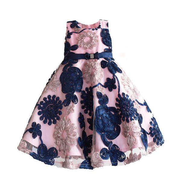 Fita Flores Vestidos de Crianças para Meninas Princesa Forro Rosa Roupas de Bebê Crianças Traje para Crianças Tamanho 3-8TMX190912