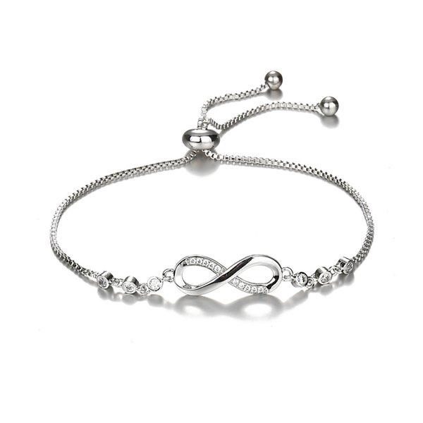 Luxurious Crystal Bracelet Silver Adjustable Infinity Charm Bracelets for Women Crystal Stones Bracelet Infinity Number 8 Chain Bracelets