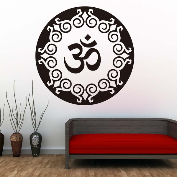 1 Pcs Mandala Pattern Wall Decal Vinyl Art Sticker Yoga Lotus Meditation Home Decor Mural Indian Religious Symbol Removable Wallpaper