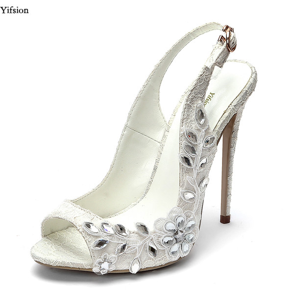 Yifsion Women Lace Sandals Thin High Heels 12 cm Sandals Sexy Rhinestone Nice Peep Toe White Wedding Shoes Ladies US Size 4-10.5