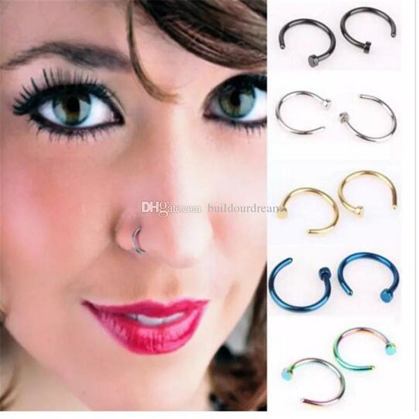 High Quality Nose Rings Body Art Piercing Jewelry Fashion Jewelry Stainless Steel Nose Open Hoop Earring Studs Fake Nose Ring aa176-183 2018
