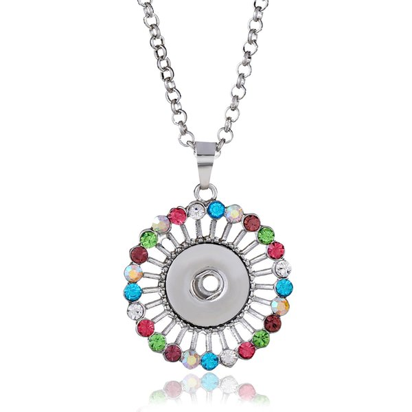 Hot sell high quality pendant multicolor diamond necklace suitable for 18mm buckle female charm interchangeable jewelry key chain
