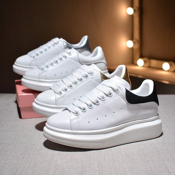 2019 Designer Luxury Brand white leather casual shoe for girl women men black gold red pink fashion comfortable flat sneakers size 35-43
